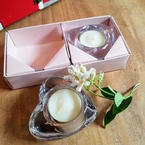 FREE! Glass Heart Candle Set IOB